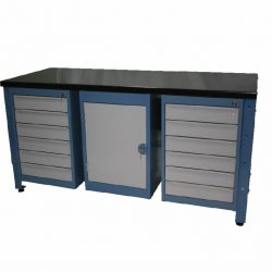 STANDARD MODULAR WORKBENCH + 12 X DRAWER UNITS + 1 X CUPBOARD UNIT