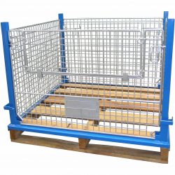 WIRE MESH CAGE WITH STACKING RAILS