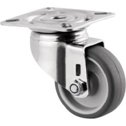 .50MM DIA CASTORS - STAINLESS STEEL - PLATE & BOLT HOLE