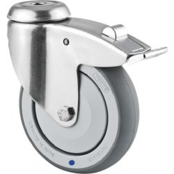 150MM DIA CASTORS - STAINLESS STEEL - PLATE & BOLT HOLE